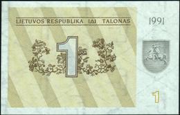 LITHUANIA - 1 Talonas 1991 {Lietuvos Respublika} AU-UNC P.32 A - Lituania