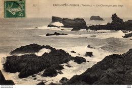 TREGASTEL-PRIMEL  Les Chaises Par Gros Temps.  Carte écrite En 1907   TBE - Primel