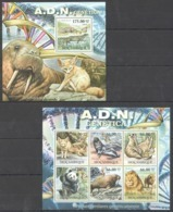 BC1229 2011 MOZAMBIQUE MOCAMBIQUE ANIMALS MARINE LIFE A.D.N. GENETICA 1SH+1BL MNH - Stamps