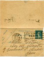 FRANCE THEME JEUX OLYMPIQUES ENTIER POSTAL DEPART PARIS 16 III 1924 AVEC FLAMME JEUX OLYMPIQUES PARIS MAI-JUIN-......... - Estate 1924: Paris