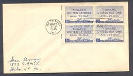 USA CA SAN FRANCISCO TO PA 1945 FDC 42540 SC 928 TOWARD UNITED NATIONS - Postal History