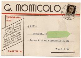 SANTHIA' - CARTOLINA COMMERCIALE TIPOGRAFIA G. MONTICOLO - FORMATO GRANDE NON LUCIDA - VIAGGIATA 1940 - (rif. A09) - Vercelli