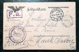 Feldpostkarte F.A.  1915 - GIESSEN à THONON LES BAINS - Envoi Aux Prisonniers - Allemagne