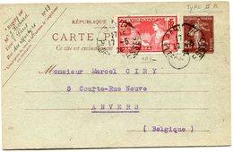 FRANCE THEME JEUX OLYMPIQUES ENTIER POSTAL AVEC AFFR. COMPLEMENTAIRE DEPART PARIS 17-5-24 POUR LA BELGIQUE - Estate 1924: Paris