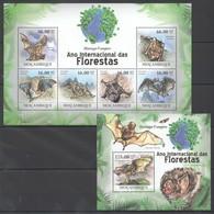 BC1251 2011 MOZAMBIQUE MOCAMBIQUE FAUNA DAS FLORESTAS ANIMALS BATS MORCEGO-VAMPIRO 1SH+1BL MNH - Bats