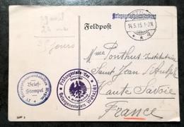 Feldpostkarte - F.A. Kriegsgetangenensendung  1915 - GIESSEN à THONON LES BAINS - Allemagne