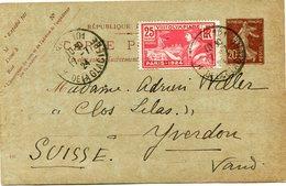 FRANCE THEME JEUX OLYMPIQUES ENTIER POSTAL AVEC AFFR. COMPLEMENTAIRE DEPART PARIS 17-7-24 POUR LA SUISSE - Estate 1924: Paris