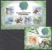 BC1275 2011 MOZAMBIQUE MOCAMBIQUE FAUNA DAS FLORESTAS INSECTS DRAGONFLIES LIBELULA 1SH+1BL MNH - Andere