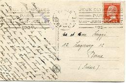 FRANCE THEME JEUX OLYMPIQUES CARTE POSTALE DEPART PARIS 3 JANV 24 AVEC FLAMME JEUX OLYMPIQUES PARIS.......POUR LA SUISSE - Estate 1924: Paris