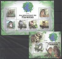 BC1278 2011 MOZAMBIQUE MOCAMBIQUE FAUNA DAS FLORESTAS BIRDS OWLS CORUJA 1SH+1BL MNH - Hiboux & Chouettes