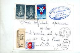 Lettre Recommandée Equeurdreville Sur Rodez Grenoble - Poststempel (Briefe)