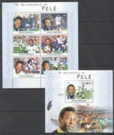 BC1144 2010 MOZAMBIQUE MOCAMBIQUE SPORT FOOTBALL LEGENDS PELE 1SH+1BL MNH - Voetbal
