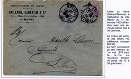 Enveloppe Le Havre 1903 Perforé HG 33 - France