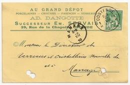 CARTE POSTALE (Entier Postal) Au Grand Dépôt Ad. Dangotte à Ostende. Oblitération Oostende Et Manage 1912. - Cartes Postales