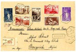 SURTAXE 309 345/347 352 353 356 BAS RHIN ENV 1937 BUST AGENCE POSTALE (517 HABITANTS EN 1936) LETTRE CHARGEE => BOUZARI - Marcophilie (Lettres)
