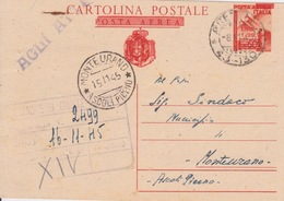 ITALIA 1945 - LUOGOTENENZA - CARTOLINA POSTALE DA L.1,20/60C. - VIAGGIATA - - 5. 1944-46 Luogotenenza & Umberto II