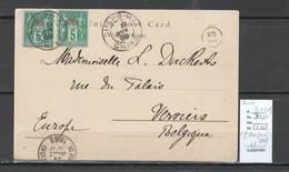 Chine Française - CP De Shanghai -1899 Pour Verviers En Belgique - Yvert 1 X 2 En Rouge - China (1894-1922)