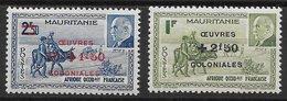 Mauritanie N°131 50c+1F50 Sur 2F50 Bleu & 132 2F50 Sur 1F Vert-jaune 1944 ** - Mauritania (1906-1944)