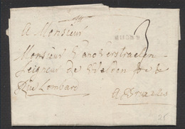 """Précurseur - LAC Datée De Marche (1790) + Obl Linéaire MARCHE Et Taxe """"3"""" Vers Bruxelles, Rue Lombar - 1790-1794 (Französische Revolution)"""