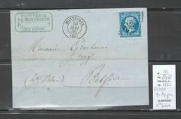 France - Lettre - GC2437 - Montbozon - Haute Saone   Yvert 22 - 1866 - Marcophilie (Lettres)