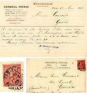 PERFORE MFC (LA MUTUELLE DE FRANCE ET DES COLONIES) ENV ENTETE 1907 10C SEMEUSE LIGNEE PERFORE DAGUIN LYON GROLEE - 1877-1920: Période Semi Moderne