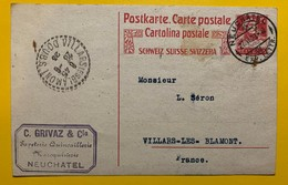 9656 -  Entier Postal Tell 25 Ct Rouge Neuchâtel 27.06.1923 Pour Villars-les Blamont - Interi Postali