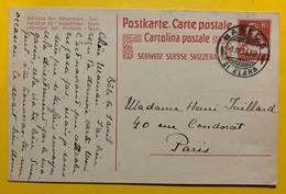9657 -  Entier Postal Tell 10 Ct Rouge Basel 1.04.1916 Pour Paris - Interi Postali