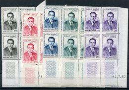 RC 15054 MAROC PA N° 106 / 110 SÉRIE POSTE AÉRIENNE ROI HASSAN BLOC DE 4 COIN DATÉ COTE 56,00€ NEUF ** MNH TB - Morocco (1956-...)