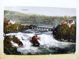 Post Card Carte Switzerland Mountains Montagnes Berges 1912 Rheinfall Fall Waterfall Bridge Pont Brucke - Storia Postale
