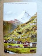 Post Card Carte Switzerland Mountains Montagnes Berges 1912 Zermatt 1620 M. Mont Cervin - Storia Postale