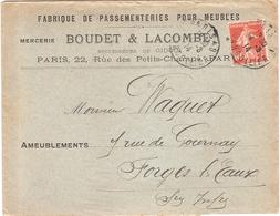 Enveloppe Mercerie Boudet Lacombe Passementeries Pour Meubles 22 Rue Des Petits Champs Paris 75 - 1921-1960: Période Moderne