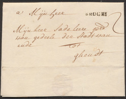"""Précurseur - LAC Datée De Brugge (1748) + Obl Linéaire BRUGES Et Taxe """"2"""" Vers Ghendt - 1714-1794 (Austrian Netherlands)"""