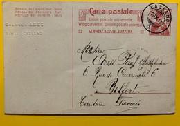 9663 -  Entier Postal Hevetia 10 Ct Rouge Caslano 20.10.1912 - Ganzsachen