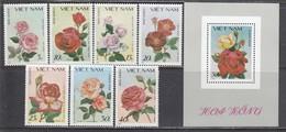 Vietnam 1988 - Roses, Mi-Nr. 1888/94 + Bl. 59, MNH** - Vietnam