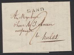 Précurseur - LAC Datée De Gand 08/03/1815 + Obl Linéaire GAND Vers Hulst. Port De 2 Stuyvers. - 1814-1815 (General Gov. Belgium)
