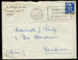 16085 FRANCE N°886° 15F Bleu Flamme : Abonnez-vous Aux émissions De Timbres-Poste  1952  B/TB - Marcophilie (Lettres)