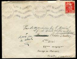 16087 FRANCE N°813° 15F Rouge  Flamme : Lac D'Annecy Mai-Juin-Septembre - Prix Spéciaux  1950  B/TB - Marcophilie (Lettres)