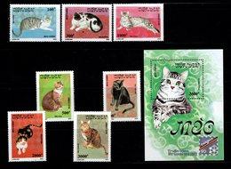 VIETNAM  - 1990 - Chats - YT N° 1094 / 1100 + Feuillet  56 - ** - Série Complète - Katten