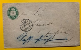 9673 -  Entier Postal Lettre 25 Ct Vert Basel 19.12.1877 Pour Frankfurt Cacher Rectangulaire Sachsenhausen Au Verso - Interi Postali