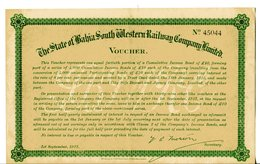 Brésil: The STATE Of BAHIA SOUTH WESTERN RAILWAY COMPANY; Voucher - Unclassified