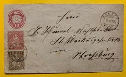 9675 -  Entier Postal Lettre 10 Ct Rouge + Helvetia Assise 5 & 10 Ct Bünzen 6.10.1873 Pour Strasbourg - Ganzsachen