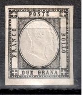 ITALY 1861  2 Grana BLACK   ERROR  YVERT- 13c   SIGNED - Nápoles