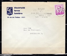 Brief Van Huy Naar Bruxelles Huy Et Son Telepherique Des Vallees - 1953-1972 Glasses
