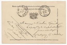 CARTE POSTALE (Entier Postal). 1896 Ministère Des Finances, Carte Postale De Service, Oblitération Charleroi Et Couillet - Postales