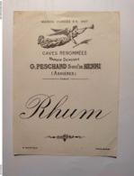 Magnifique étiquette Ancienne De Rhum - Rhum Peschard Successeur De Henri Asnières - Imprimeur Mantiaux - Rhum