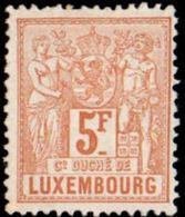 Luxembourg 1882 5 Fr Allegorie Perf 13½, 1 Value MH - 1912.2042 - 1882 Allegorie
