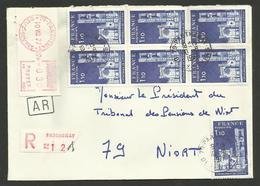 Affr. Cathédrale Lodève X 7 + Vignette / Lettre Recommandée A.R. / PARTHENAY - DEUX SEVRES 10.08.1977...au Tarif - Marcophilie (Lettres)