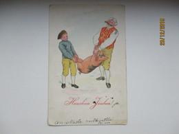 IMP. RUSSIA FINLAND , CHRISTMAS PIG , VUOLENKOSKI LINE CANCEL   , OLD POSTCARD , 0 - 1857-1916 Empire