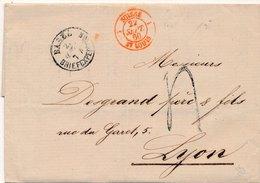 LETTRE BASEL BRIEFEXPEDITION SUISSE ST LOUIS LYON FRANCE 1860 - 1854-1862 Helvetia (Non-dentelés)