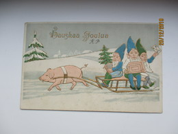 IMP. RUSSIA FINLAND , EMBOSSED GNOOMS DWARFS RIDING A  PIG ,  LINE CANCEL   , OLD POSTCARD , 0 - 1857-1916 Empire